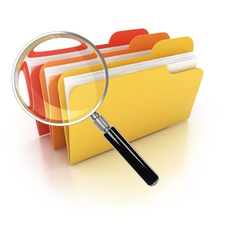 mappen zoeken 3d pictogram - mappen onder het vergrootglas op een witte