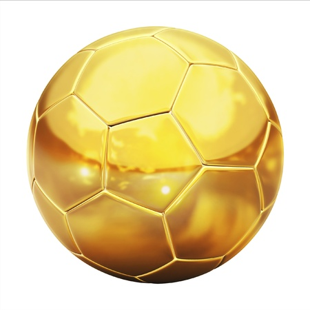 golden football (soccer ball) on the white background 3d illustration  illustration