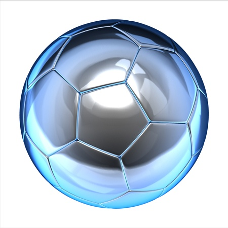 shiny football (soccer ball) on the white background 3d illustration  illustration