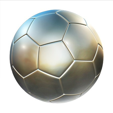 foot ball: shiny football (soccer ball) on the white background 3d illustration