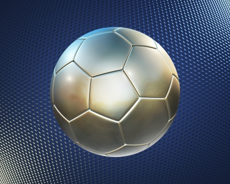 metallic football (soccer ball) on the blue hi-tech\ background
