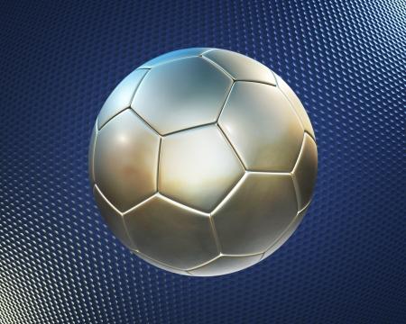 metallic football (soccer ball) on the blue hi-tech background  photo