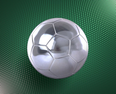 metallic football (soccer ball) on the blue hi-tech background  photo
