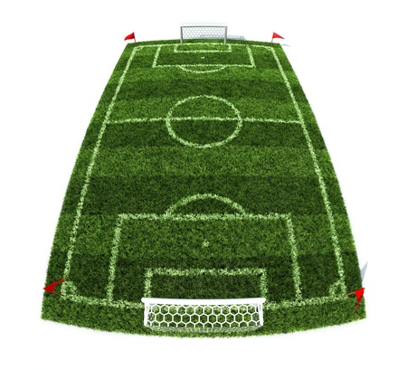 goal kick: 3d illustration of the football field isolated on white background