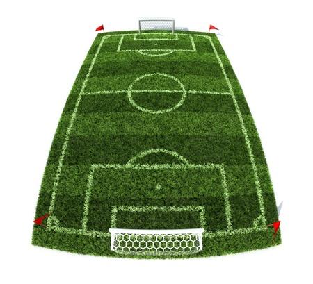 futbol soccer dibujos: 3d ilustración del campo de fútbol aisladas sobre fondo blanco