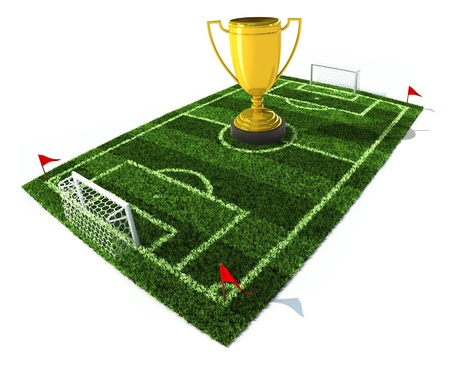 football field with golden trophy on center  photo