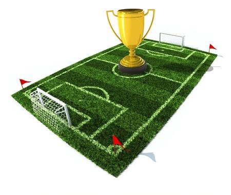 cartoon football player: football field with golden trophy on center