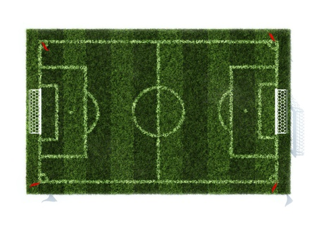 top view of the football field isolated on white background photo
