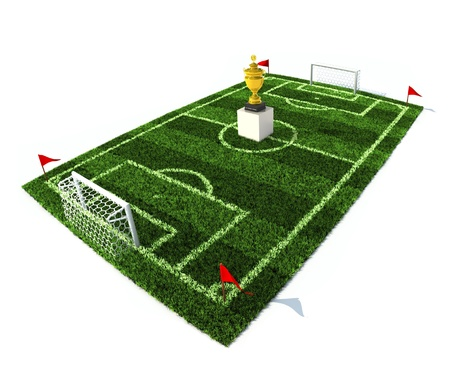 football field with golden trophy on center