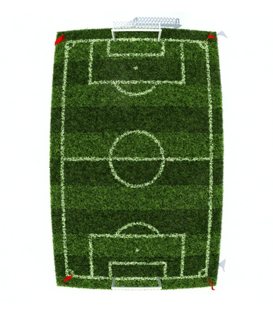 pitch: football field top view with fish eye effect isolated on white background