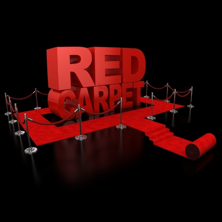 red carpet event: red carpet 3d illustration over over background