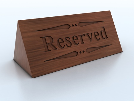 reservation sign 3d Illustration  illustration