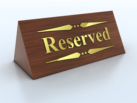Illustration of reservation sign with golden letters illustration