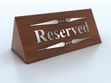 reservacion: 3d ilustraci�n de la se�al de reserva Foto de archivo