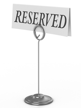 holders: reserved sign isolated over white