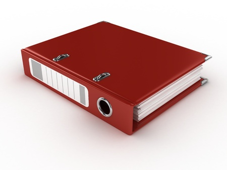 stack of files: red ring binder isolated on the white background