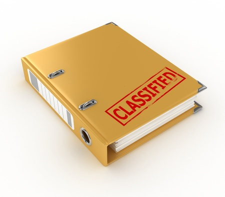 bureaucracy: yellow ring binder with classified stamp isolated on the white background
