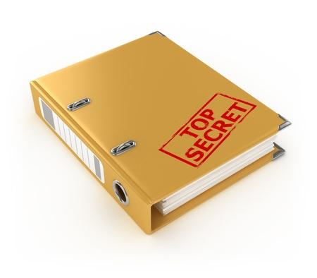 gele ring binder met top secret stempel die op de witte achtergrond