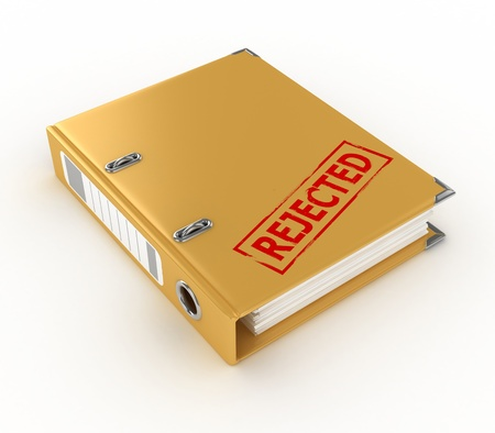 yellow ring binder with rejected stamp isolated on the white background  photo