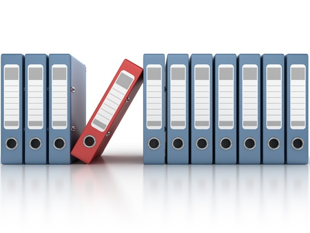 stack of files: one red and the row of blue ring binders isolated on the white background 3d illustration  Stock Photo
