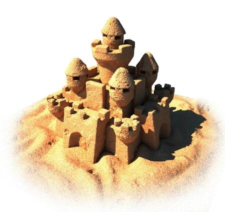 chateau de sable: ch�teau de sable isol� Banque d'images