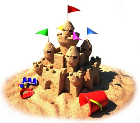 children sandcastle: 3d sand castle  Stock Photo