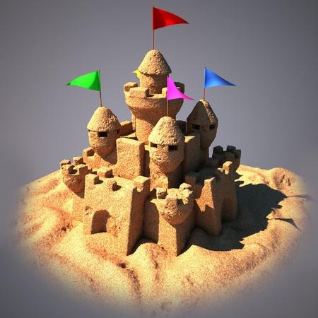 sandcastle: 3d sand castle  Stock Photo