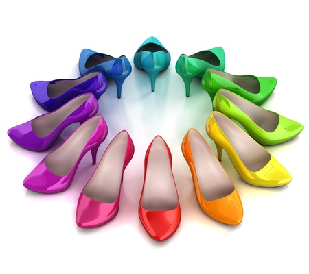 3d rainbow: women s shoes 3d illustration