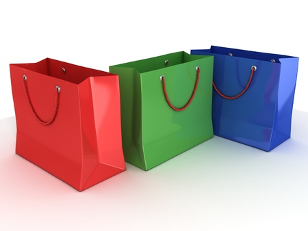 colorful shopping bags isolated over white background  photo
