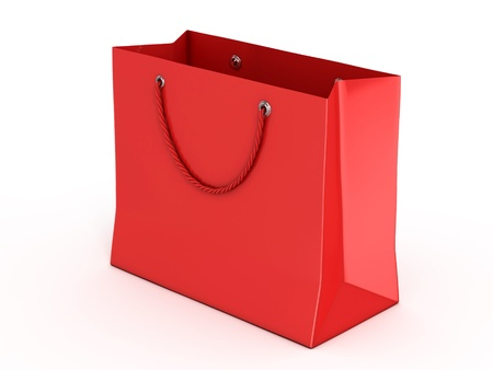 shopping bag: red shopping bag isolated over white background