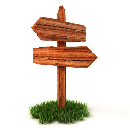 patch panel: old wooden empty signpost on grass isolated on white background  Stock Photo