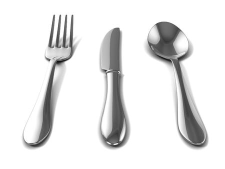 silverware over white background  photo