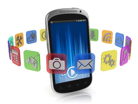 mobility: application icons around smart phone 3d concept