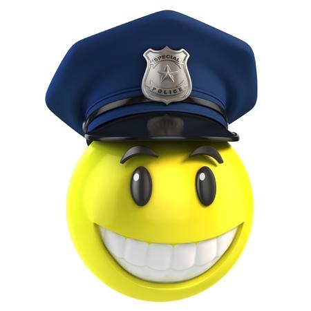 gorra policía: sonriente policía