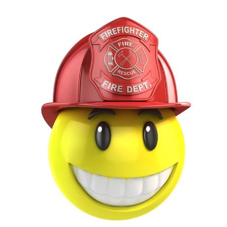 bombero de rojo: sonriente bombero Foto de archivo