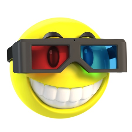 funny faces: smiley with 3d glasses