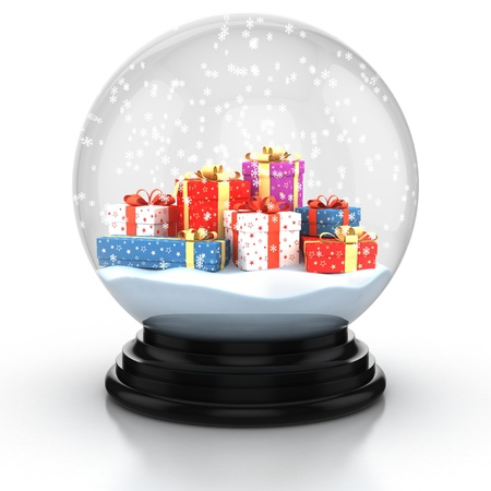 domes: snow dome filed with presents and snowflakes over white background Stock Photo