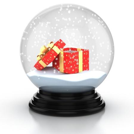 neige noel: boîte de cadeau ouvert dans le dôme de neige sur fond blanc