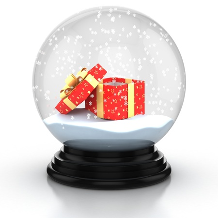 christmas snow: open gift box in the snow dome over white background  Stock Photo