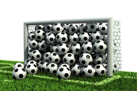 winning pitch: goal full of soccer balls on the football field  Stock Photo