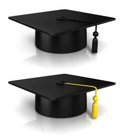 college graduation: Graduation Cap 3d rendering - two variations