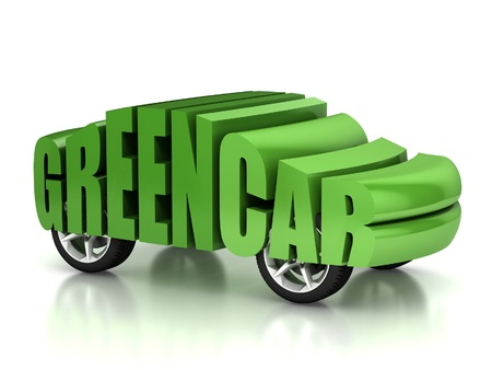 green car 3d concept  photo