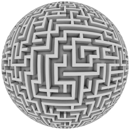 maze game: labyrinth planet - endless maze with spherical shape 3d illustration