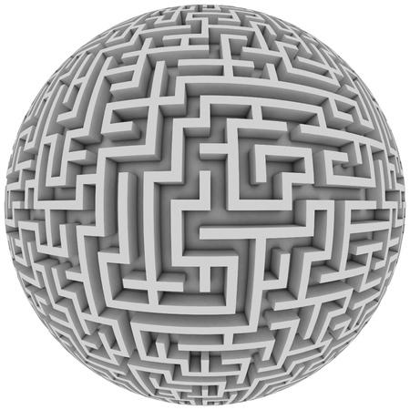 laberinto: planeta laberinto - laberinto interminable con la ilustración de la forma esférica 3d