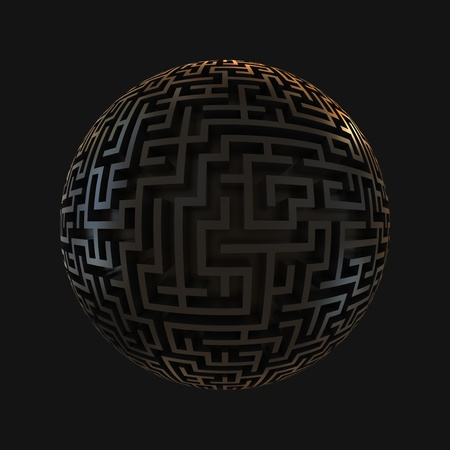 labyrinth planet - endless maze with spherical shape 3d illustration  illustration