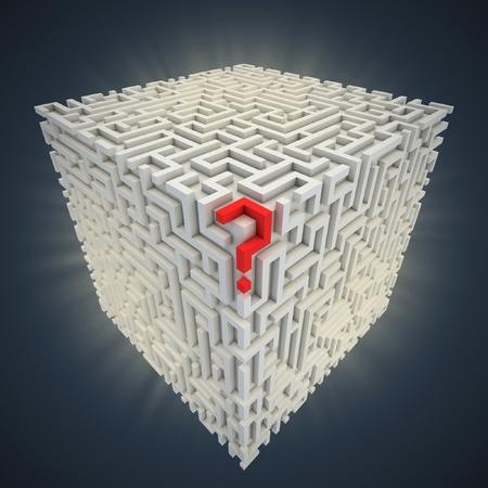 question mark inside cubical maze  photo