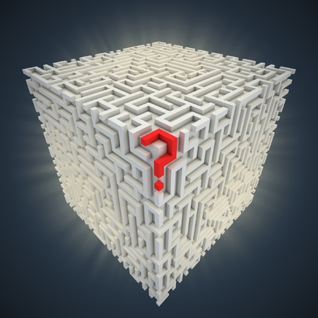 cubical: question mark inside cubical maze  Stock Photo
