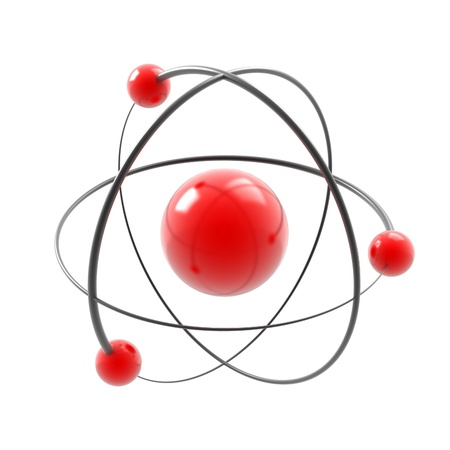 electrons: atom 3d illustration isolated on white