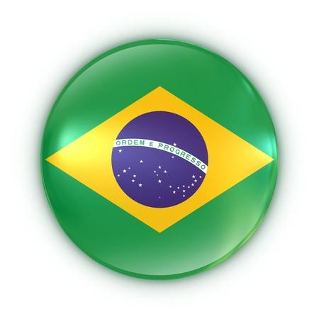 flag button: badge - Brazilian flag  Stock Photo