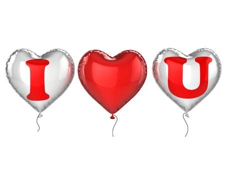 i love you balloons 3d illustration  illustration